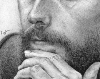 Custom portrait pencil Custom art by photo Realistic portrait Original drawing Unique pencil art Contemporary ooak gift Art fan Jared Leto