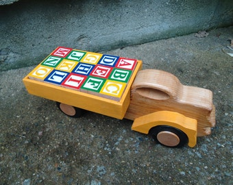 Fantasy Letter Block Truck // Wooden Truck // Handmade // Wooden Toy // Toys for Learning