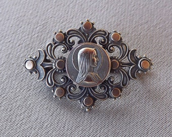 Lourdes - Madonna - Antique French Religious Brooch - Religious Jewelry - Virgin Mary