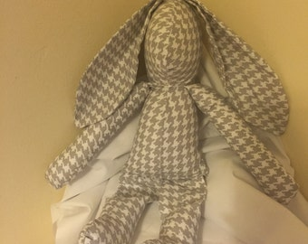 Grey Houndstooth Rag Doll Bunny LIMITED EDITION
