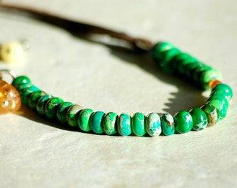 Green Chrysoprase Leather Strap Necklace with Citrine and Garnet Semipriecious Gemstones Sterling Silver Clasp and Chain Harness Style Strap