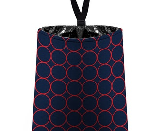 Car Trash Bag // Auto Trash Bag // Car Accessories // Car Litter Bag // Car Garbage Bag - Rings (navy blue and red) // Car Organizer