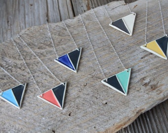 Porcelain Divided Triangle Necklace - Made to Order 2-3 Weeks for Delivery