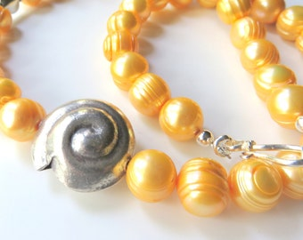 Golden Yellow Pearl Necklace, Freshwater Pearl Nautilus Necklace, Banded Pearls, Sterling Silver Pearl Necklace, Destination Wedding Jewelry