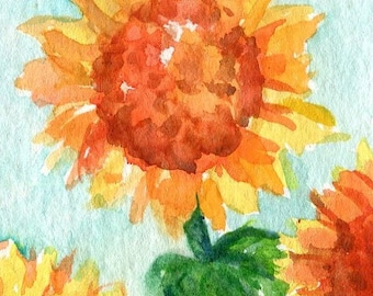 ACEO Original Sunflowers watercolor painting original sunflower art card, aqua background, original watercolor of sunflowers, ACEO painting