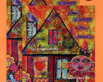 HOME IS WHERE The Heart Is Mixed Media Art Magnet