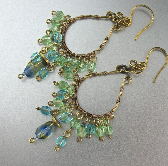 green blue beaded wire wrapped earrings wire wrapped