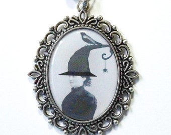 Antiqued Silver Halloween Witch Pendant Necklace , Whimsical Halloween Costume Jewelry