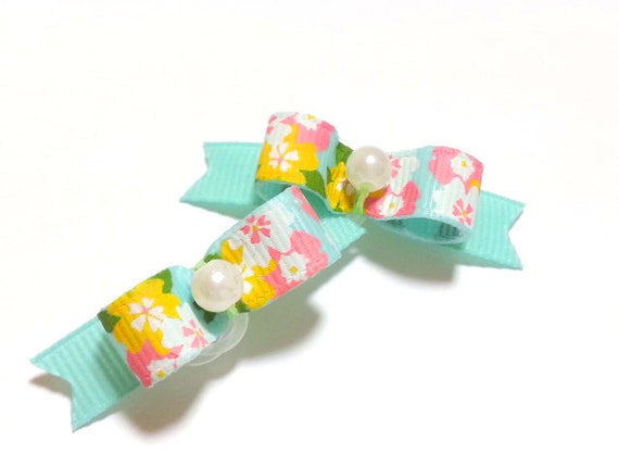 Dog Bows with Flowers, Aqua Pet Hair Bow, Small Dog Bows, Floral Bows, Girl Dog Bow