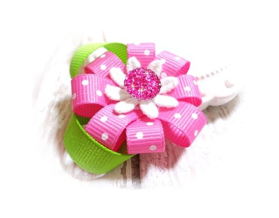 Pink Flower Dog Bow, Spring Flower Dog Hair Bow