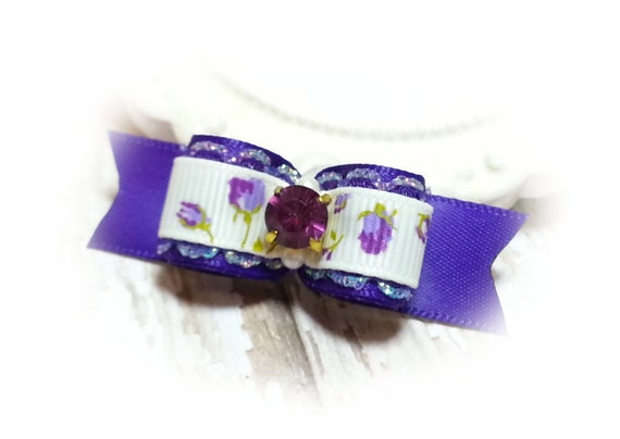 Purple Dog Bow / Satin Dog Bow / Show Dog Bow / Purple Roses / Small Pet Bow