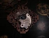 Steampunk necklace - pocket watch parts, eye, copper filagree backing, chain  trashionteam, FunkyAlternativeJewelry, SpookyCute, OlympiaEtsy