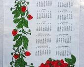 Vintage 1982 Calendar Linen Vera Strawberry Tea Towel