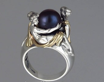 TWO BEAUTIES silver & 14k gold Black Akoya Pearl ring