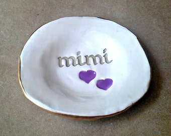 Ceramic Ring Holder Dish edged in gold MIMI  Mothers day