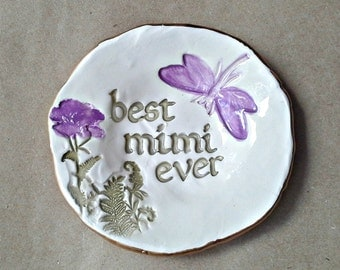 Ceramic MIMI Trinket Dish Ring Bowl  edged in gold  Mothers day