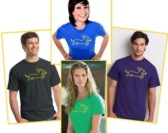 Wahoo Wiener Dachshund T-Shirt Available in 2 Fit Styles and 4 Colors