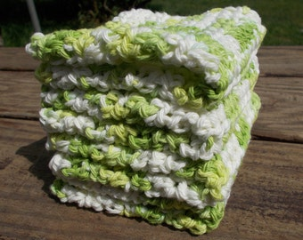 Crochet Dishcloth/ Washcloth - Handmade Wash Rag -Set of 4 Kitchen Dish Cloths-Extra large size-Limeade Color