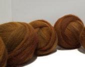 Sienna, Brick wool roving, Needle Felting wool, Spinning fiber, roving, hand dyed, w/ free samples, yellow brown fox brown rust red brown