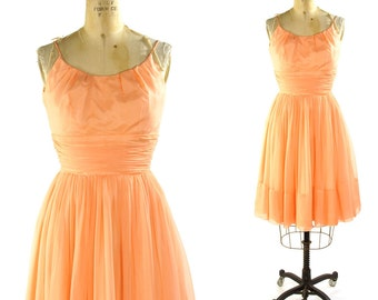 1950s Chiffon Cocktail Dress in Coral Pink / Knee Length with Spaghetti Straps
