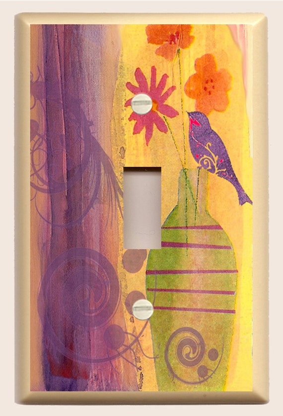 Flowers in Vase with Purple Bird and Swirl - Decorative Light Switch Plate - Yellow, Purple, Pink and Orange