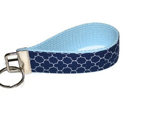Navy Blue Quatrefoil and Light Blue Wristlet Key Ring