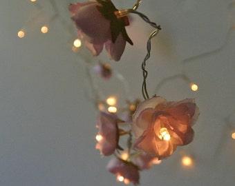 Flower Fairy Lights, Pale Lilac Shabby Rose Fairy Lights, Battery String Lights
