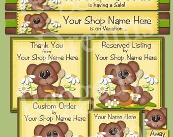 Etsy Banner Set - Premade Etsy Banner - Etsy Shop Banner - SHOP ICON - Brown Bear Daisies Design