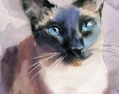 Print Siamese Cat Art Print of a watercolor Painting Big Large Huge Cat Lover Gift Seal Chocolate Point Decor Traditional Portrait