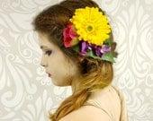 Rainbow Flower Fascinator, Daisy Flower Hair Clip, Bohemian, Boho, Woodland, Bright Colors, Yellow Daisy, Hair Accessory, Vintage Fashion