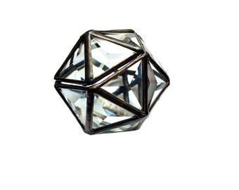 Glass Ring Box. Ring Bearer Box. Wedding Ring Box. Hinged Bridal Box.Glass Display Box.Geometric Faceted Box. Triangle Ring Box. Icosahedron