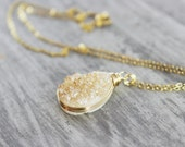 Druzy Geode Necklace, Geode Jewelry, Champagne Druzy Necklace, Druzy Gemstone Necklace, Gold Fill Necklace, Wire Wrap, Peach Necklace