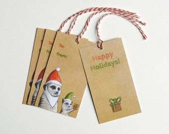 Meerkat Holiday Gift Tag Set