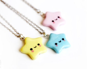 Kawaii star necklace - pink, yellow or blue - cute polymer clay jewelry (one), gift for her