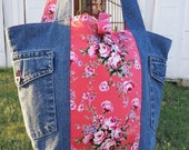 CLEARANCE pretty pink floral and denim eco tote bag, sale, one of a kind