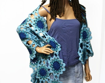 Japanese Flower Style Shawl Crochet Bohemian Hippie Shawl Boho Gypsy Wrap Blue