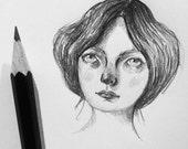 Tiny pencil portrait of imaginary soul