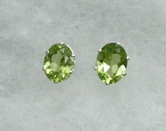 8x6mm Green Peridot Gemstones in 925 Sterling Silver Stud Earrings SnapsByAnthony August Birthstone