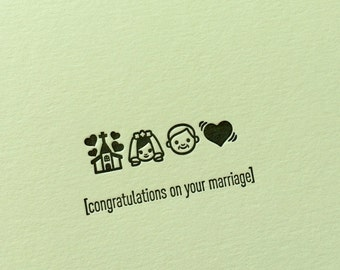 Emojicards: Congratulations on your Marriage (Wedding), single letterpress card