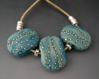 Naos Glass Laguna Tabs Made To Order Handmade Lampwork Beads SRA Set Tabular Beads Teal Turquoise Mint Green Fine Silver