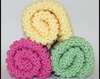 Hot Pink, Green, and Yellow Hand Knitted Dishcloths or Washcloths