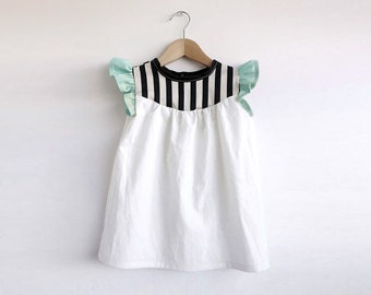 girls cotton dress with stripes detail