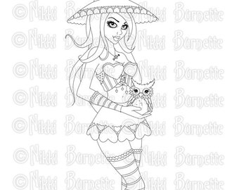 Digital Stamp - Printable Coloring Page - Fantasy Art - Witch Stamp - Adult Coloring Page - Ryla - by Nikki Burnette - PERSONAL USE