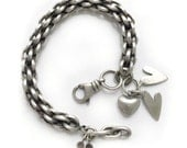 Chunky Sterling Silver Chain Heart Charm Bracelet Recycled Silver Vintage Recycled Silver - So Much Love