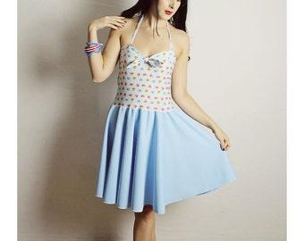 Blue FLOWER Dress,  HANDMADE Halter Dress, Handmade BOW Dress , Diy Flower Dress, Blue bow Halter Dress