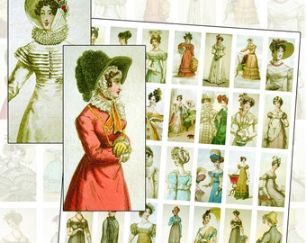 Jane Austen Regency Costume Fashion Sepia Digital Collage Sheet Sized for Domino Jewelry 25mm x 50mm 1x2 inches