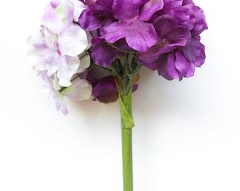 Mixed Purple Hydrangea Head on 14 Inch Stem - Silk Artificial Flowers - Purple Hydrangea on stem