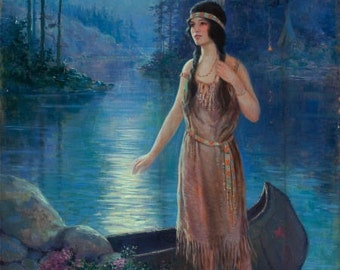 20x26 Canvas  MOON SONG American Indian Maiden Maid Art Deco calendar Pinup Canvas Giclee Modern early 20th century pin-up Craftsman Homes