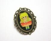 """Handmade and Illustrated Brooch - """"Patty Pickebuns"""" Hamburger Girl"""