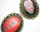 "Handmade and Illustrated Brooch - ""Aqua Roja"" Watermelon Girl - Black or Pink"